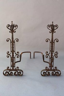 1920s Large Antique Iron Andirons Spanish Revival Mediterranean Fireplace (7858)