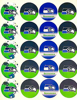 """SET of 20- 2"""" SEATTLE SEAHAWKS ADHESIVE STICKERS.Make Birthday cupcake toppers!"""