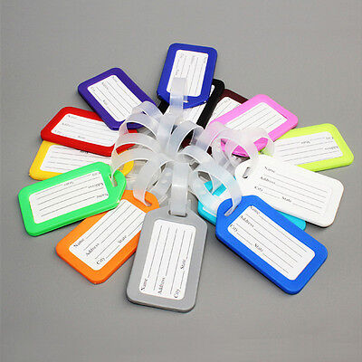 Plastic Luggage Tags Labels Strap Name Address ID Suitcase Bag Baggage Travel