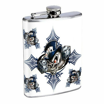 Skull Flask D56 8oz Stainless Steel Scary Horror Death Frightening