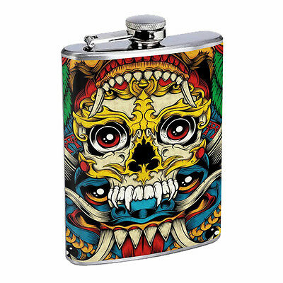 Skull Flask D59 8oz Stainless Steel Scary Horror Death Frightening