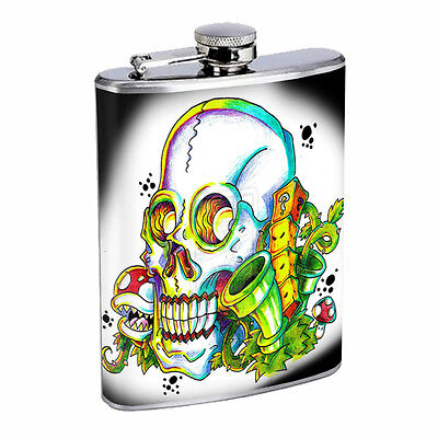 Skull Flask D63 8oz Stainless Steel Scary Horror Death Frightening