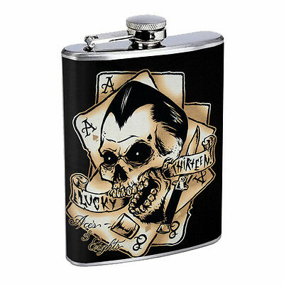 Skull Flask D64 8oz Stainless Steel Scary Horror Death Frightening