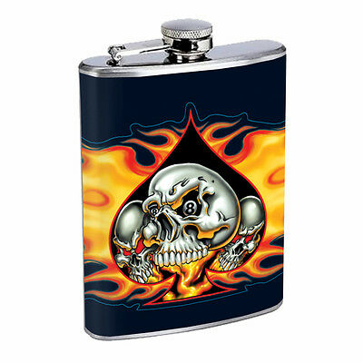 Skull Flask D65 8oz Stainless Steel Scary Horror Death Frightening