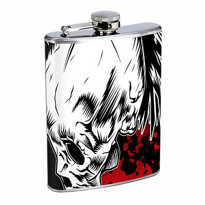 Skull Flask D79 8oz Stainless Steel Scary Horror Death Frightening