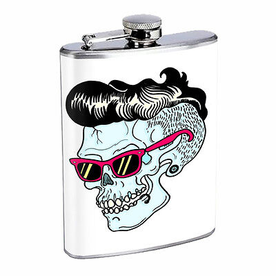 Skull Flask D81 8oz Stainless Steel Scary Horror Death Frightening