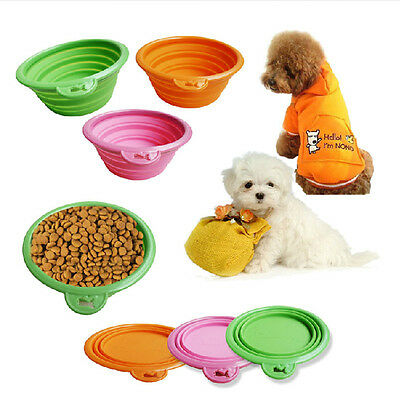 Best Dog Cat Pet Portable Silicone Collapsible Travel Feeding Bowl Dish Feeder