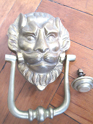 Large Old Solid Brass Lion Face Door Knocker
