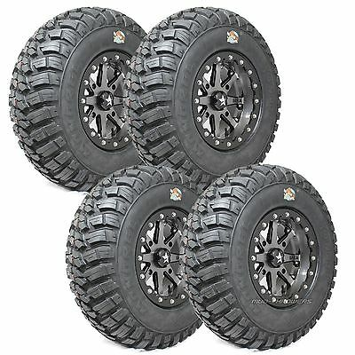 "28"" GBC Kanati Mongrel Tires on 14"" MSA Lok Wheels Polaris RZR XP 900 28-10-14"