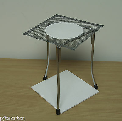 Bunsen burner tripod with gauze and heat resisting bench mat stand alcohol lamp