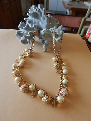 Vintage Necklace Pearl Faux White Glass & Faceted Smoke & Gold Filigree Choker