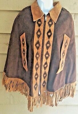 LEATHER PONCHO OLD WEST NATIVE AMERICAN VINTAGE 2-Tone Suede  Handmade M/L RARE