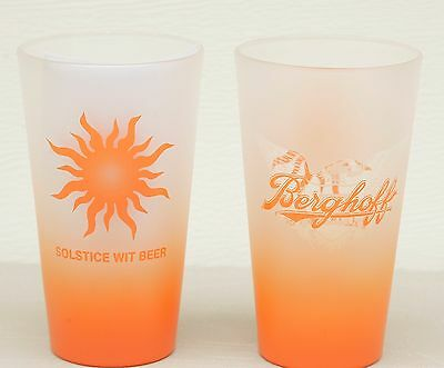 Lot of 2 Berghoff Pint Glasses Solstice Wit Beer NOS