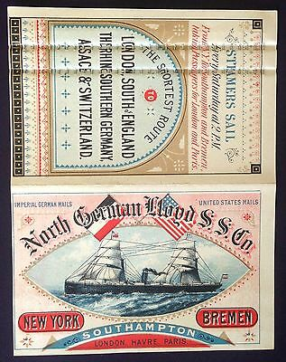 North German Lloyd S.S. Co.-7138-  From New York to London with 1880 Calendar
