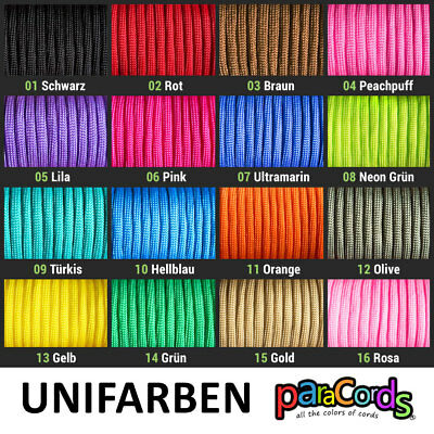 Paracord 550 Unifarben 30m 15m 5m 2m Type III 4mm
