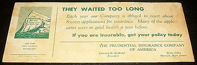 VINTAGE PRUDENTIAL INSURANCE CO. BLOTTER EDWARD D.DUFFIELD PRESIDENT 20s-30s