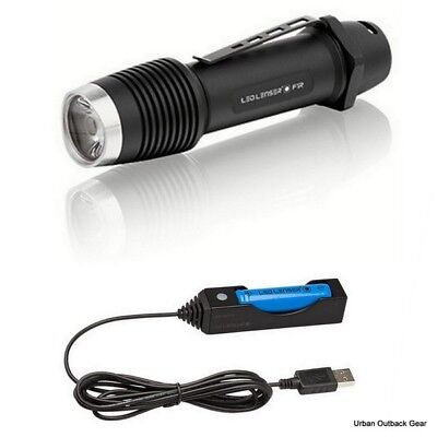 LED Lenser F1R Force Rechargeable 1000Lm Flashlight +USB Charger & 18650 Battery
