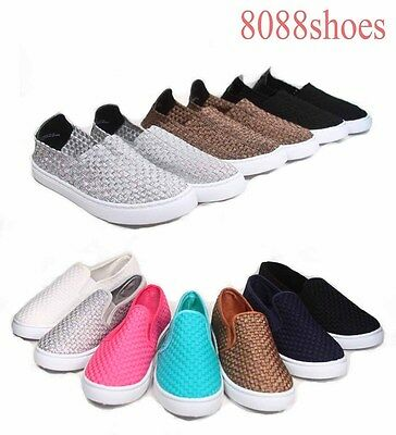 Women's Causal Woven Webbing Round Toe Slip On Flat Sneaker Shoes Size 5 -11 NEW