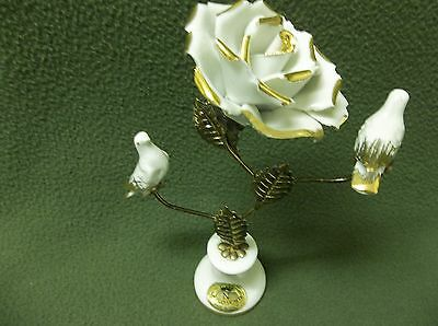 Vtg. Capodimonte Porcelain White Rose & Birds Gold on Stand Great Cond.