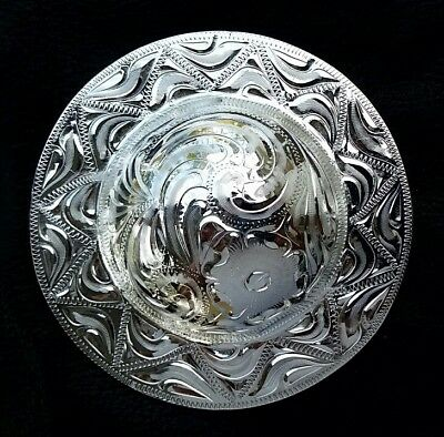 """3"""" Silver Hand Engraved Western Concho #67"""