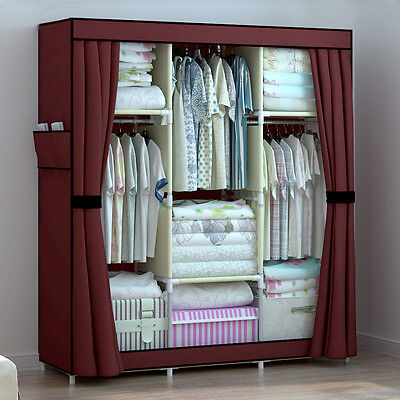 Burgundy Large Reinforced Organizer Clothes Wardrobes Closet Rack Shelves Cover