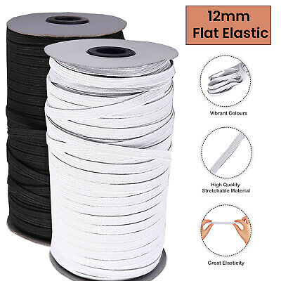 12mm Wide Flat Elastic Cord Waist Band Black White Trimming Sewing Dressmaking