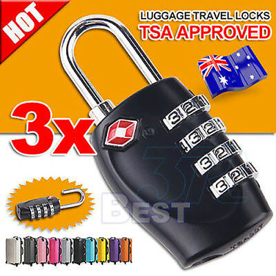 3X TSA Travel Luggage Locks Combination 4-Dial Code PadLock Suitcase Security