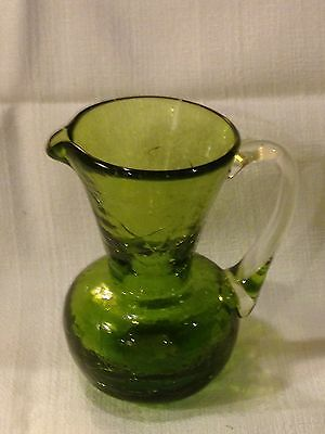 Green Crackle Glass Creamer or Pitcher ~ Hand Blown - Vintage Hand Crafted