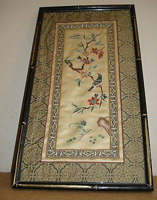 Vintage Chinese Silk Embroidery Birds framed w/glass