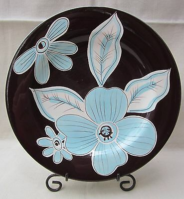 """Laurie Gates Cafe Blues 1 pc. Salad/Desert Plate 9.75"""" Blue White Flower Brown"""