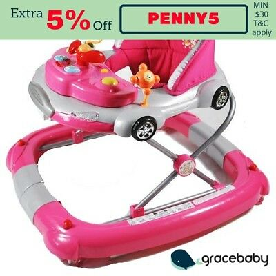 Car Theme Fuchsia Pink Baby Walker Rocker Play Activity Centre