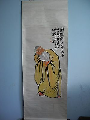 Excellent old Chinese Scroll Painting By Qi BaiShi : peach k03