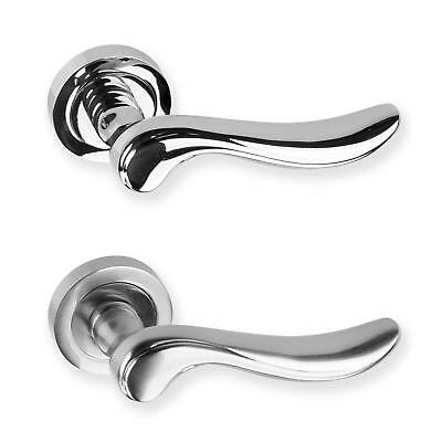 Door Handle Lever On Rose Polished & Satin Chrome Pair Of With Screws Designer