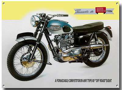 Triumph Bonneville T120C Motorcycle Enamelled Metal Sign.vintage Motorcycle.