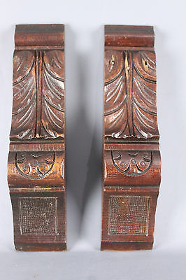 Set of  Two  Antique French  wood carved Corbels Ornamental Column