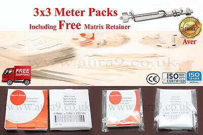 Dental Matrix Bands Siqveland 3 Packs of 3 Meters Each with FREE Matrix Retainer