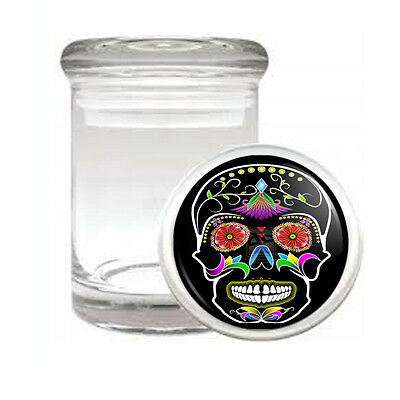 Sugar Skull D8 Odorless Air Tight Medical Glass Jar Container Day Of The Dead