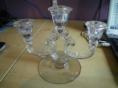 FOSTORIA-TRIPLE-CANDLE-HOLDER-CRYSTAL-CANDLEABRA MINT