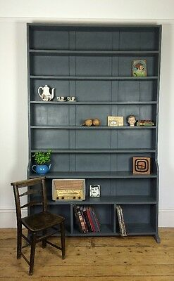 8Ft Vtg Antique Victorian Bookcase Shelves Unit Display Dresser Pigeon Holes