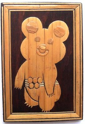 1980 Moscow Olympic Game CCCP Soviet Vintage wooden plate MISHA  MASCOT