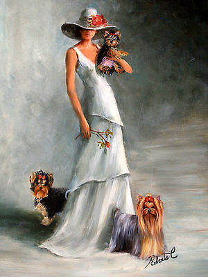 Yorkshire Terriers with lady dog art print