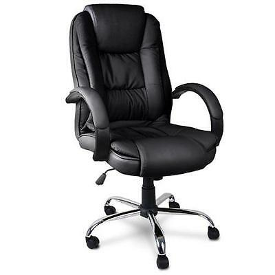 Executive PU Leather High Back Office Padded Computer Chair Seat - Black