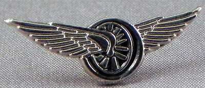 Winged Wheel Faro Style Bikers Pin Badge Motorcycle Event