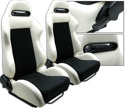 New 1 Pair White & Black 2 Tone Racing Seats For All Acura