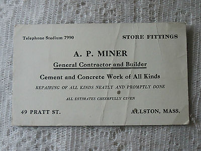 VINTAGE BLOTTER - A. P. MINER CONTRACTOR AND BUILDER - ALLSTON MASS.