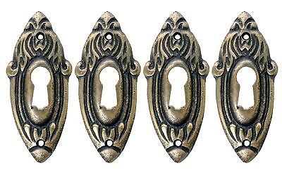 Solid Brass Victorian Style Keyhole Escutcheons Set of 4 Steampunk