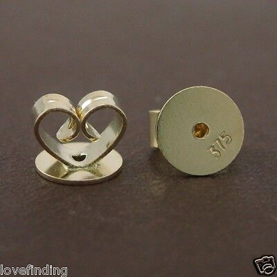 Genuine 9CT Solid Yellow Gold Disc Butterfly Earring Backs 6mm - 1 Pair