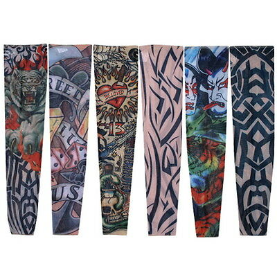 Nylon Stretch Costume Fake Tattoo Sleeve Arm Stocking Seamless Dress Pack of 6