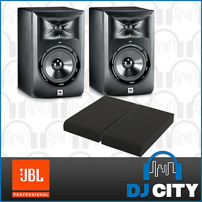 "JBL LSR305 5"" Active Monitor 2-way Studio Powered Speakers PAIR w/ Monitor Pads"