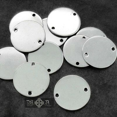 10 x Stainless Steel 16mm Flat Round Blank Disc Connectors - Stamping